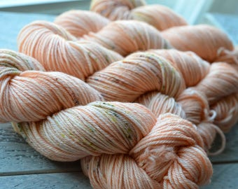 Hand Dyed Superwash Merino Wool Yarn - Worsted weight - What a Peach!