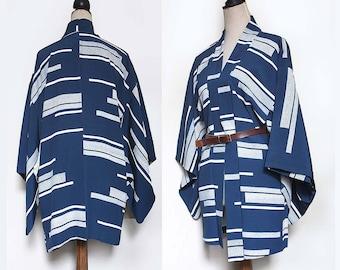 Blue Vintage Silk Haori Jacket. Teal-Blue white stripes/ geometric /abstract.  One size / XS /S/ M