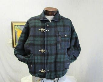 80s S Express Men's Oversized Wool Blend Jacket Black Watch Plaid