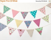 ON SALE Petite Shabby Chic Fabric Bunting, Banner, Garlands (set of 3)