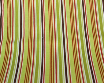 Green, Brown and Dark Orange Cotton Stripe Fabric Designed by Riley Blake  Quilts, Crib Sheets, Pillowcases, Home Decor, Kids Crafts, Aprons