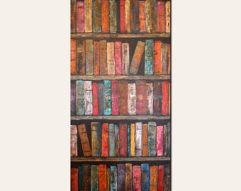 Library Vintage Books Original Painting, Ready to Ship, Unique, Abstract Painting in Colorful Hues