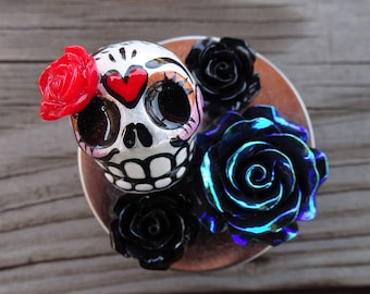 Sugar Skull Tin Storage Container Bling