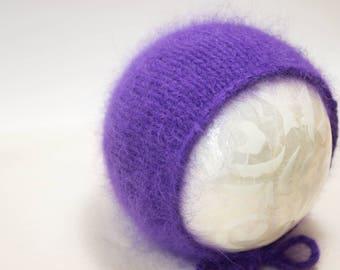 Luxury Angora Newborn Bonnet in Deep Royal Purple Newborn Baby Girl Bonnet Photo Prop