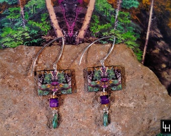 Environ 11_No. 6 Artist Crafted EARRINGS_original signed art  jewelry_purple green woodland forest_ Loree Harrell_ready to ship