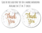 "Marble and Rose Gold Stickers - Marble and Gold Stickers - Marble Decals - Thank You Stickers - Gold and Marble Decor, 1.5"" or 2"" Set of 24"