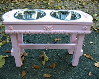 Pink Paradise Elevated Pet Feeder, Large Dog Feeding Station, Dog Bowls, Two quart Paw Print Dog Bowls Made To Order