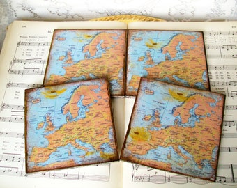 European Countries, Modern Map Coasters, Cocoa and Dark Gold Stained and Antiqued Map, Set of 4, Decoupaged Wood Coasters