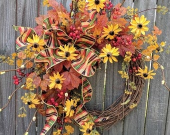 Fall Door Wreath, Fall / Autumn Wreath, Wild Harvest Flower Wreath, Fall Door Decor, Fall Leavse Wreath, Horn's Handmade, Spring