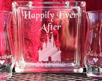 Personalized -  Glass Block - Sand Ceremony Set - Happily Ever After With Castle - 2 pouring vases Etched Glass Engraved Unity Set  Disney