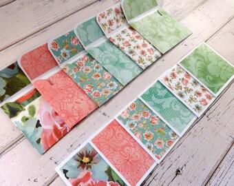 Mini Note Cards, Mini Note Card Set, 3x3 Note Cards, Mini Envelopes, Set of 6 Mini Note Cards with Envelopes, Mini Cards, Watercolor Floral