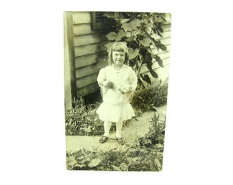 Real Photo Postcard. Little Girl with Wiggling Kittens. Summer Fashion, Mary Jane Shoes. Antique 1910s Americana. Sepia Tone AZO Collectible
