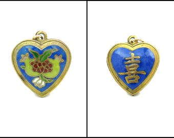 Cloisonné Enamel Heart Pendant. Chinese Export. Pomegranate Fruits. Shou Longevity, Good Luck. Gold Gilt Puffy Heart. Vintage Asian Jewelry