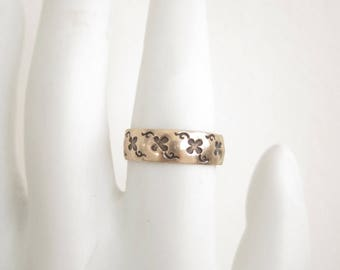 Victorian band, cigar band, 14k gold, gold clover, stacking ring