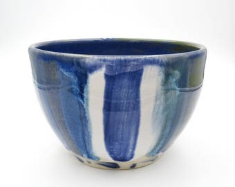 Blue Cereal Bowl. Striped Bowl. Blue Bowl. Modern Ceramics. Handmade Pottery Bowl