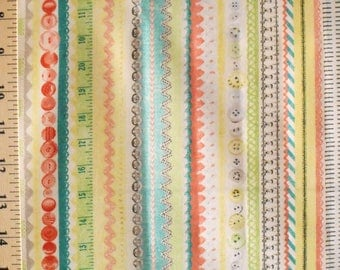 1 Yard Dressmaking Collection Vintage NOTIONS Ric Rac Buttons Trim Tools Stripes Amy Barickman Quilting Sewing Dress Workshop Fabric