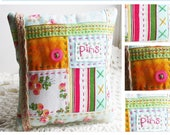 Patchwork Pincushion Pattern, Embroidered Pincushion Pattern, Quilted Pincushion Pattern