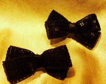 Bow clips for hair - black
