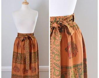 ON SALE Vintage 70s India Print Wrap Around Skirt