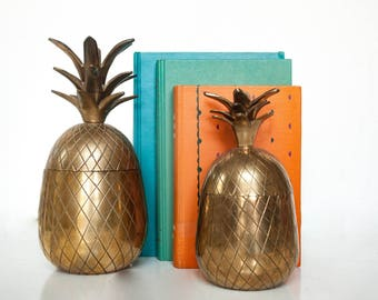 """Vintage 9"""" Brass Pineapple Ice Bucket or Candle Holder"""