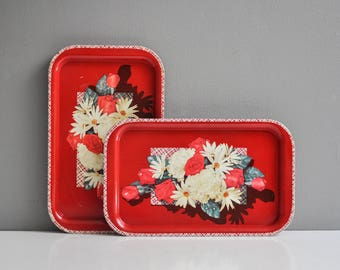 Pair of Vintage Metal Red Floral Serving Trays