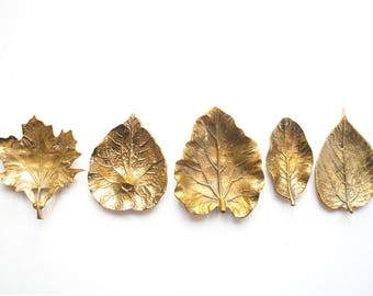 Vintage Virginia Metalcrafters Brass Rhubarb Leaf Dish