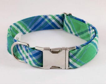 Preppy Green and Blue Madras Plaid Dog Collar