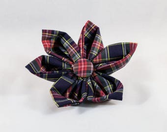 Classic Black and Red Plaid Red and Black Plaid Girl Dog Flower Bow Tie,Holiday Christmas Tartan
