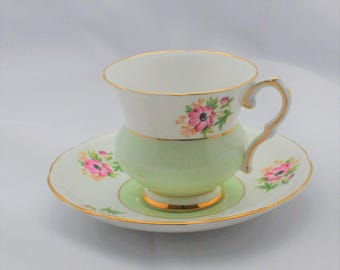 Royal Stafford - Tea Cup and Saucer - Marked - Floral Design - Pink Flowers - Mint Green