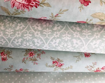 Poetry Prints Fabric Bundle of 4 in Mist Color, 3 Sisters of Moda Fabric