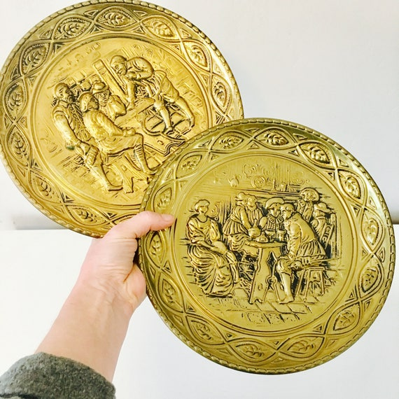 "Vintage Brass Wall Plates Set of (2) 10"" Embossed Brass Decor Made in England Old English Tavern Scene Brass Plates"