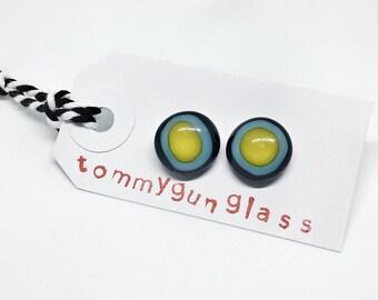 Yellow, Turquoise and Black Glass Stud Earrings, Bullseye