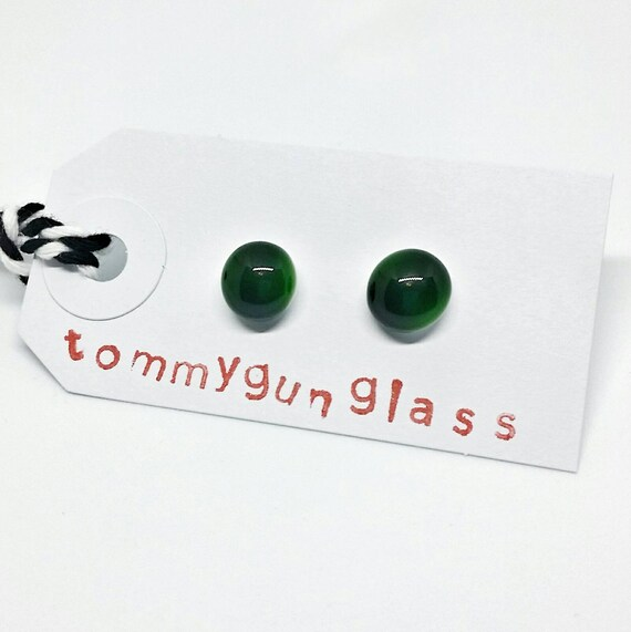 Dark Green Glass Stud Earrings
