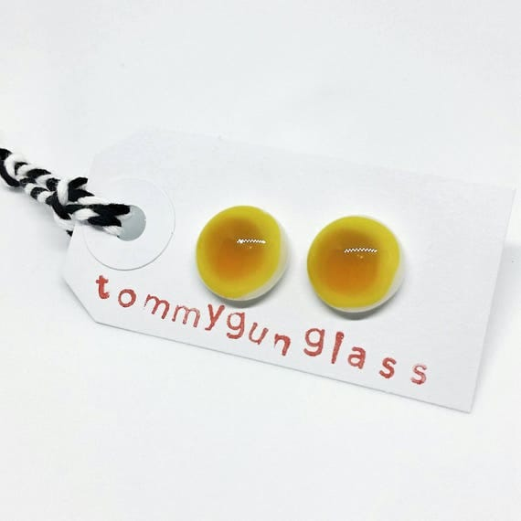 Yellow Glass Stud Earrings