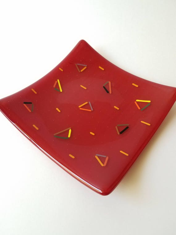 Ready to Ship! Colorful Triangle Glass Platter