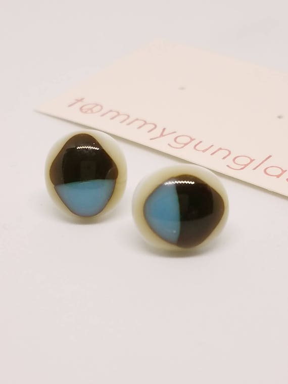 Tri-Color Blue, Dark Olive, and Ivory Stud Earrings