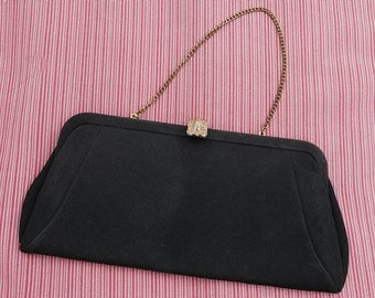 Black Cloth 50s Clutch with Gold Tone Chain, Vintage Evening Bag