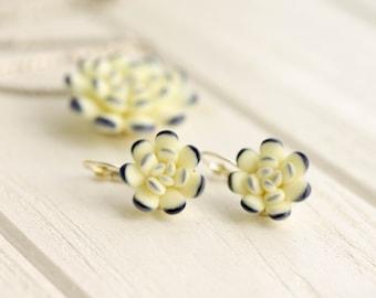 Small Blue White Succulent Pendant Earrings Set Wholesale Mini Succulent Arrangement  Jewelry Wedding Bridal Birthday Bride Gifts
