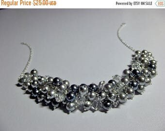 30% OFF SALE thru Mon Gray Pearl and Crystal Cluster Necklace, Christmas Gift, Mom Sister Grandmother Bridesmaid Aunt Girlfriend Jewel