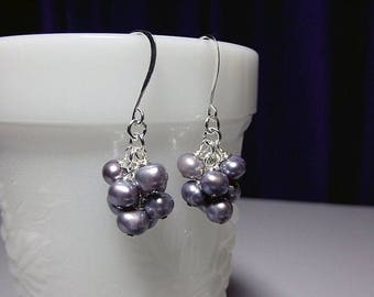 40% OFF SALE thru Tues Purple Violet Cultured Pearl Cluster Earrings, Valentines Mothers Day Gift, Mom Bridesmaid Sister Aunt Birthday Jewel