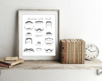 "Mustaches Poster Print |  14"" x 18"" Illustration 