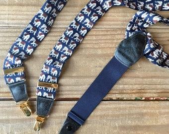 Navy Blue Elephant Braces Suspenders