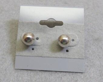Vintage Sterling Silver 7 MM Ball Pierced Earrings