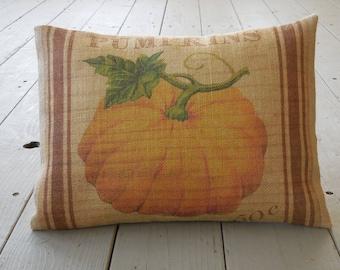 Feed sack Pumpkins burlap Pillow, Farmhouse Style, Shabby Chic, Autumn decor,  Fall, INSERT INCLUDED
