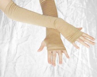 Light beige Arm warmers fingerless gloves sleeves sleeve armwarmers armwarmer arm warmer earth tones light brown thumbhole thumb hole nude