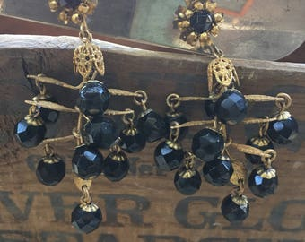 1950's Signed Miriam Haskell Black dangle Earrings