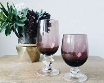 HEAVY set of 8 Vintage Purple Libbey Jewel Water Glass Tumblers Glasses