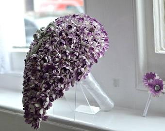 Purple Teardrop Flower and Brooch Bouquet