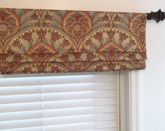 Faux Roman Shade Lined Mock Valance Tommy Bahama Crescent Beach Coral Custom Sizing Available!