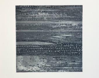 "Abstract etching. Art  Print. Original Intaglio. Greenish Dark  Gray + Silver colors. Beach Art: "" Current 4"" . 10"" x10"" . unframed"